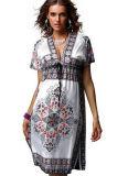 V-Collo profondo sexy più il vestito stampato spiaggia da formato (50117-1)