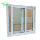 Diseño de parrillas de marco blanco UPVC ventana deslizante, Madera coextrusión ventana Perfil de UPVC