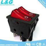 힘 입력/출력 4 핀 빛 16A 250VAC를 가진 마이크로 단추 로커 스위치를 걸쇠를 걸기
