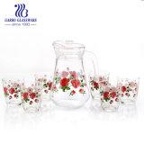 Verre de fleur rose de boire ensemble de 7 (GO12039-2-THYH2)