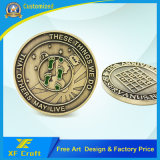 Professonal ha personalizzato in lega di zinco placcato ottone antico le monete del ricordo della pressofusione con tutto il marchio (XF-CO09)