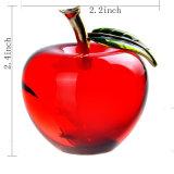 """2.2 het """" Rode Geelgroene Kristal van het Glas van de Hand van de Presse-papier van de Appel K9 Optische voor de Gunst van de Ambacht van de Herinnering van de Giften van de Decoratie van Christamas van het Huis van het Huwelijk (2128R, 2128Y, 2128G)"""