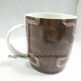 Tazza di caffè di ceramica di Cina di osso del gres di stampa completa del reticolo della geometria 12oz