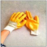 Желтый нитрил окунул перчатку работы нитрила с запястьем руки Knit (5004)