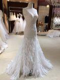 Mermaid Feather Vestido de casamento de moda