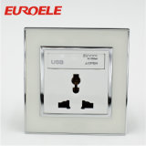 Socket de pared blanco del USB de la Muti-Función 250V/13A 86*86m m del Pin del color 3