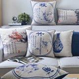 Capas de almofadas lombares de linho de algodão competitivo para decoração de cama