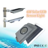 luz de rua solar Integrated SL1-18-6W do diodo emissor de luz do sensor de movimento de 6W 108-LED
