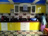 Gabinetes de cozinha UV lustrosos elevados com o teste padrão do Woodgrain (personalizado)