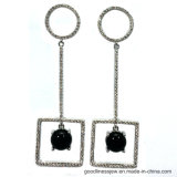 HK 2017 zeigen einfacher Entwurfs-Schwarzes CZ-Ohrring-Schmucksachen (E6901)