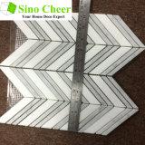 Плитка стены горячей мозаики Fishbone Carrara сбывания 2016 белой мраморный Polished