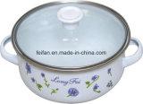 Caçarola do esmalte com tampa de vidro, decoração de Colorfull