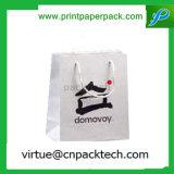 Tienda de comestibles modificada para requisitos particulares blanca simple y bolsas de papel el SOS con la impresión de la insignia