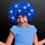Peluca Afro azul ilumina con LEDs parpadeando