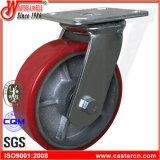 8 Zoll rote PU-Gestell-Schwenker-Fußrolle