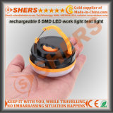 Impermeable USB recargable 5 SMD LED Linterna camping