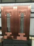 別荘新しいデザイン手細工の機密保護の前ドアの銅のドア