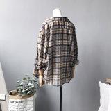 Рубашка весны и шотландки кофточек втулок женщин осени длинняя
