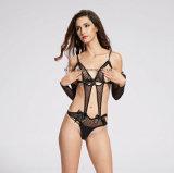Open de dames vormen de Erotische Bikini van het Visnet van de Lingerie met Koker tot een kom