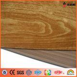 el panel compuesto de aluminio PE/PVDF del final de madera estándar de 1220*2440m m ASTM
