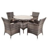 Redonda jantar do Rattan ao ar livre cinzento da mobília do pátio do jardim com vidro