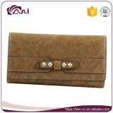 Wallet Fashion Design, carteira de couro comprido em couro PU, carteira de cinto para cartões de crédito