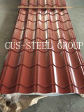 非対称的な艶をかけられた鋼鉄屋根ふきシートの対称の側面図を描かれた屋根瓦