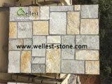 Folheado natural da pedra da parede do cimento/pedra externa da borda da coberta de parede