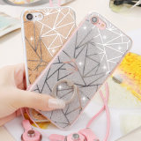 Caso de TPU resplandeciente multicolor polvo suave de la caja y cubre iPhone6