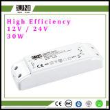 a fonte de alimentação do diodo emissor de luz da eficiência elevada de 30W 12V 24V, fonte de alimentação IP20, diodo emissor de luz descasca a potência, transformador 30W do diodo emissor de luz, excitador constante do diodo emissor de luz da tensão, transformador do diodo emissor de luz de 12V 24V 30W