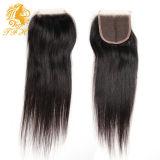 Chiusura brasiliana del merletto dei capelli umani 4*4 con i capelli del bambino diritto