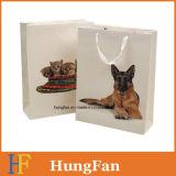 Bolso de compras encantador del papel del diseño del animal doméstico con insignia