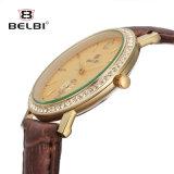 Belbi 새로운 형식 우연한 숙녀 시계 가죽끈 조수 선 다이아몬드 못 마스크 석영 시계