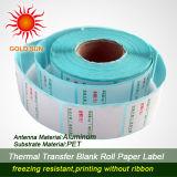 Impression d'étiquette de papier thermosensible de roulis avec le coin rond (TPL-002)