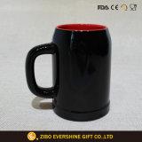 кружка черного кофеего 450ml с красным цветом внутрь