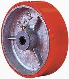 Schwenker PU auf der Roheisen-Fußrolle (rot)