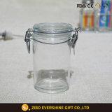 Armazenamento jarra de boca larga com tampa de vidro e clipe de metal