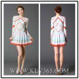 Langer Hülsen-Form-Sprung-Silk Kleid für Damen