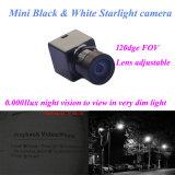 0.0001lux夜間視界の家が付いている小型サイズ120deg Fov 600tvlの黒く白いマイクロビデオ・カメラHD