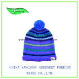 方法子供の緑のジャカード冬のニットの帽子
