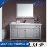 Gabinete personalizado da vaidade do banheiro do dissipador dobro de madeira contínua do estilo hotel americano