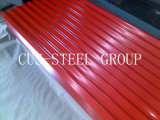 Azulejo de acero revestido acanalado de la hoja del panel del material para techos de las islas Canarias/de material para techos del color