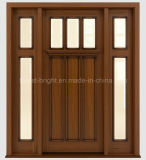 Artisan Style Exterior Solid Wooden Door avec Two Side Lites