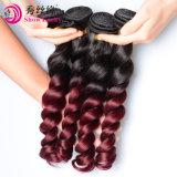 Maleise Losse Golf Twee het Lange Haar van Maleisië van de Stukken van het Menselijke Haar van de Hoogste Kwaliteit van de Rode Wijn van de Kleur van de Toon 9A