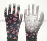 Красочный сад рабочей PU перчатки