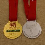 Médaille de karaté en bronze argenté personnalisé avec le ruban imprimé