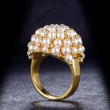 De nieuwe Trouwring van de Parel van de Aankomst Bruids Gele Gouden