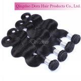 100%の加工されていなく自然で黒く最もよいブラジルの人間の毛髪の織り方