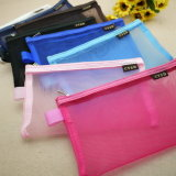 Custom Cheap Candy Color Plastic Mesh Bag Pencil Case