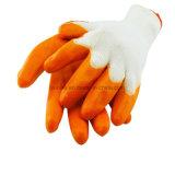 Оранжевый нитриловые перчатки трикотажные белого цвета с покрытием